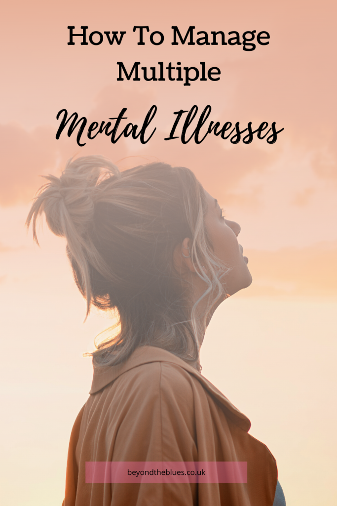 Managing multiple mental illnesses pin for Pinterest. Woman looking upwards at the dusk sky.